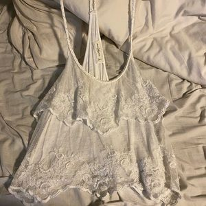 Abercrombie & Fitch white Lacey tank top